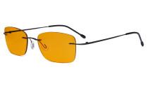 Frameless Computer Glasses Women - Blue Light Blocking Readers with Orange Tinted Filter Lens for Nighttime - Black DSWK9905B