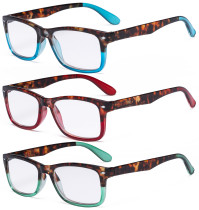 3 Pack Ladies Stylish Reading Glasses Comfort Reader Eyeglasses for Women Reading R075D