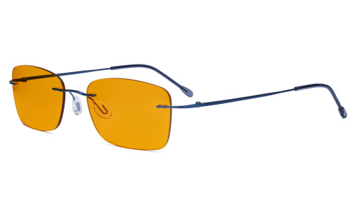 Frameless Computer Glasses Women - Blue Light Blocking Readers with Orange Tinted Filter Lens for Nighttime - Blue DSWK9905B