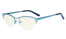 Blue Light Filter Computer Glasses - Anti Radiation Anti Glare Blocking UV Rays Reduces Eyestrain Cat-eye Eyeglasses Women Half-rim Blue with Crystals UV17002