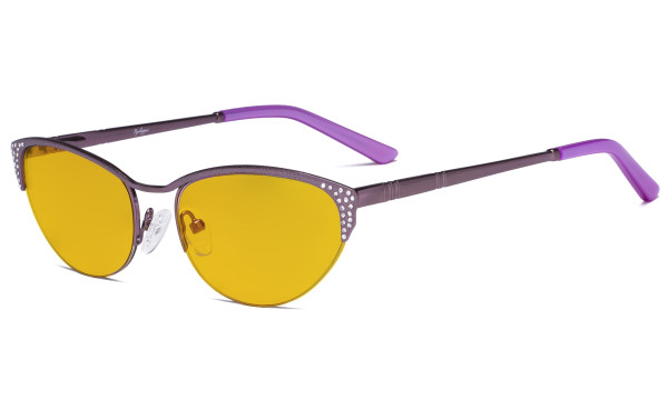 Blue Light Blocking Computer Glasses with Amber Filter Lens - Anti Radiation Anti Glare UV Rays Reduces Eyestrain Cat-eye Eyeglasses Women Half-rim Purple with Crystals HP17002