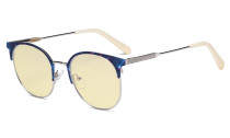 Ladies Round Blue Light Blocking Glasses with Yellow Filter Lens - Anti Blue Rays Reduce Glare Computer Eyeglasses Women Horn Rimmed Design - Beige Temple Tips LX19001-BB60