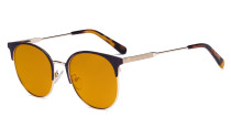 Ladies Round Blue Light Blocking Glasses with Orange Tinted Filter Lens for Sleeping - Anti Blue Rays Reduce Glare Computer Eyeglasses Women Horn Rimmed Design - Tortoise Temple Tips LX19001-BB98
