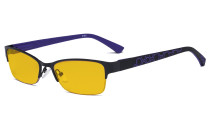 Blue Light Blocking Computer Glasses with Amber Filter Lens - Anti Radiation Anti Glare UV Rays Reduces Eyestrain Half-rim Eyeglasses Women Black/Purple HP17006