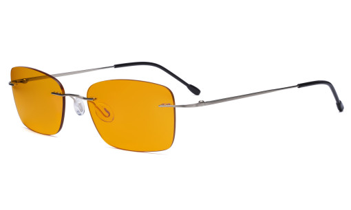 Frameless Computer Glasses Women - Blue Light Blocking Readers with Orange Tinted Filter Lens for Nighttime - Silver DSWK9905B