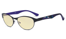 Blue Light Blocking Computer Glasses with Yellow Filter Lens - Anti Radiation Anti Glare UV Rays Reduces Eyestrain Cat-eye Eyeglasses Women Black/Purple TM17004