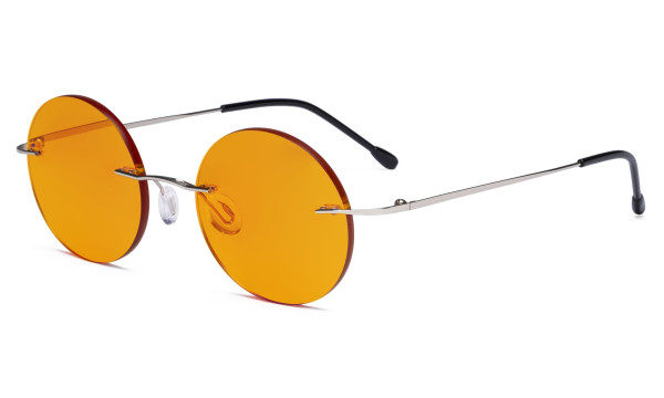 Titanium Blue light Blocking Glasses -Round Rimless Computer Readers Men Women with Orange Tinted Lens for Sleeping,Silver DSWK26