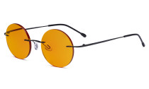 Titanium Blue light Blocking Glasses -Round Rimless Computer Readers Men Women with Orange Tinted Lens for Sleeping,Black DSWK26