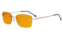 Frameless Computer Glasses Women - Blue Light Blocking Readers with Orange Tinted Filter Lens for Nighttime - Gold DSWK9905B