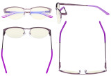 Blue Light Filter Computer Glasses - Anti Radiation Anti Glare Blocking UV Rays Reduces Eyestrain Cat-eye Eyeglasses Women Half-rim Purple with Crystals UV17002