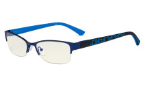 Blue Light Filter Computer Glasses - Anti Radiation Anti Glare Blocking UV Rays Reduces Eyestrain Half-rim Eyeglasses Women Blue UV17006