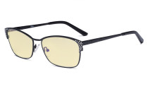 Blue Light Blocking Computer Glasses with Yellow Filter Lens - Anti Radiation Anti Glare UV Rays Reduces Eyestrain Eyeglasses Women Black with Crystals TM17001