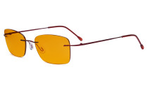 Frameless Computer Glasses Women - Blue Light Blocking Readers with Orange Tinted Filter Lens for Nighttime - Red DSWK9905B