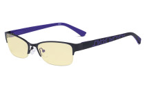 Blue Light Blocking Computer Glasses with Yellow Filter Lens - Anti Radiation Anti Glare UV Rays Reduces Eyestrain Half-rim Eyeglasses Women Black/Purple TM17006