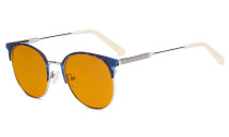 Ladies Round Blue Light Blocking Glasses with Orange Tinted Filter Lens for Sleeping - Anti Blue Rays Reduce Glare Computer Eyeglasses Women Horn Rimmed Design - Beige Temple Tips LX19001-BB98