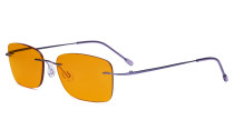 Frameless Computer Glasses Women - Blue Light Blocking Readers with Orange Tinted Filter Lens for Nighttime - Purple DSWK9905B