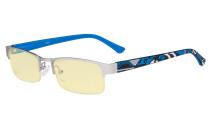 Blue Light Blocking Computer Glasses with Yellow Filter Lens - Anti Radiation Anti Glare UV Rays Reduces Eyestrain Half-rim Eyeglasses Men Women Silver/Blue TM17005