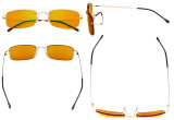 Computer Glasses - Blue light Blocking Reading Glasses with Orange Tinted Filter Lens for Nighttime - Rimless Anti Glare UV Rays Men Women,Gold DSWK8