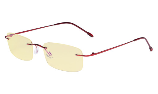 Computer Reading Glasses Blue light Blocking-Flexible Rimless Readers Men Women Yellow Tinted,Red TMWK8