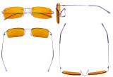 Computer Glasses - Blue light Blocking Reading Glasses with Orange Tinted Filter Lens for Nighttime - Rimless Anti Glare UV Rays Men Women,Purple DSWK8