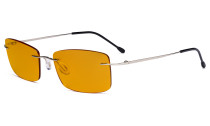 Blue light Blocking Computer Reading Glasses with Orange Tinted Filter Lens for Nighttime - Rimless Anti UV Ray Glare Men - Silver DSWK9
