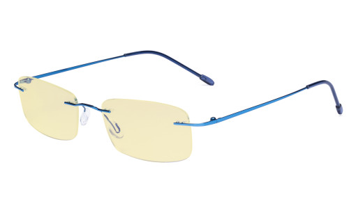 Computer Reading Glasses Blue light Blocking-Flexible Rimless Readers Men Women Yellow Tinted,Blue TMWK8
