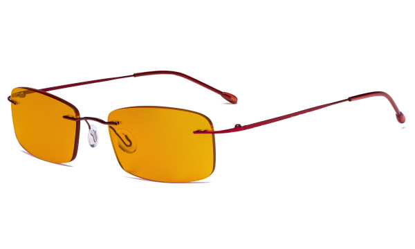 Computer Glasses - Blue light Blocking Reading Glasses with Orange Tinted Filter Lens for Nighttime - Rimless Anti Glare UV Rays Men Women,Red DSWK8
