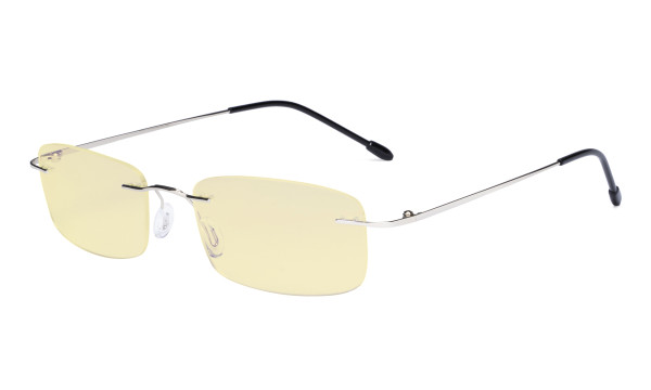 Computer Reading Glasses Blue light Blocking-Flexible Rimless Readers Men Women Yellow Tinted,Silver TMWK8