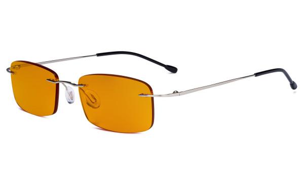 Computer-Brille - Blaulicht-Schutzbrille mit orange getönter Filtergläser für die Nacht - Randlose, blendschuz UV-Strahlen schutz Damen Herren ,Silber DSWK8