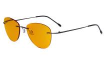 Blaulicht blockiert Computerbrillen mit orange getönten Filtergläser zum Schlafen in der Nacht - Randlose Pilot-Brillen Anti-UV-Strahlen Blendung Damen Schwarz DSWK9901B
