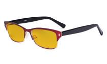 Damen-Blaulicht-Schutzbrille mit bernsteinfarbener Filtergläser - Damen  Computerbrillen Blendschutz - Reduzieren Augen belastung durch blaue Strahlen. Rot LX19003-BB90