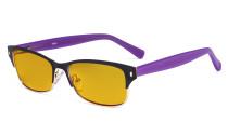 Damen-Blaulicht-Schutzbrille mit bernsteinfarbener Filtergläser - Damen  Computerbrillen Blendschutz - Reduzieren Augen belastung durch blaue Strahlen.Schwarz / Gold- LX19003-BB90