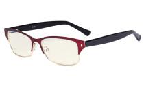 Damen Blaulichtfilterbrille - Computer Brillen Damen UV420 Filterschutz. Blendschutz - Reduzieren Augen belastung durch blaue Strahlen. Rot - LX19003-BB40