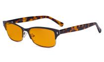 Damen-Blaulicht-Schutzbrille. mit orange getöntem Flitergläser für Schlafen - Damen Computer-Brillen Damen Blendschutz -  Reduzieren Augen belastung durch blaue Strahlen. Schwarz / Metallisch Blaugrau- LX19003-BB98