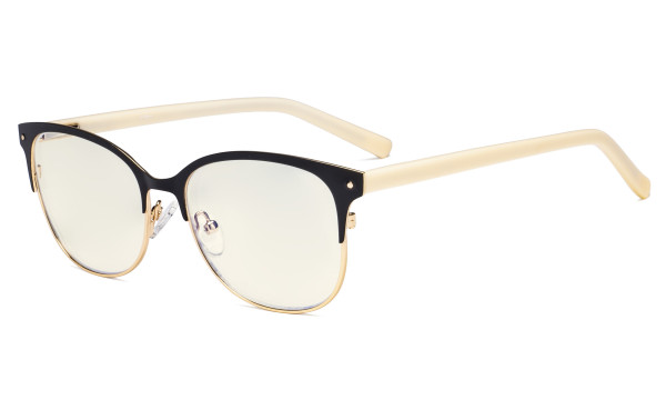 Damen Blaulichtfilter Brille - Cateye Computer Brillen Damen UV420 Filterschutz Blendschutz- Reduzieren Augen belastung durch blaue Strahlen Schwarz / Gold-LX19002-BB40