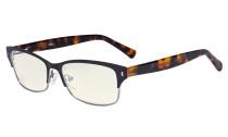 Damen Blaulichtfilterbrille - Computer Brillen Damen UV420 Filterschutz. Blendschutz - Reduzieren Augen belastung durch blaue Strahlen. Schwarz / Metallisch Blaugrau- LX19003-BB40