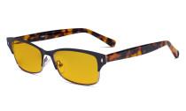 Damen-Blaulicht-Schutzbrille mit bernsteinfarbener Filtergläser - Damen  Computerbrillen Blendschutz - Reduzieren Augen belastung durch blaue Strahlen. Schwarz / Metallisch Blaugrau LX19003-BB90