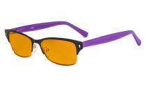 Damen-Blaulicht-Schutzbrille. mit orange getöntem Flitergläser für Schlafen - Damen Computer-Brillen Damen Blendschutz -  Reduzieren Augen belastung durch blaue Strahlen. Schwarz / Gold- LX19003-BB98