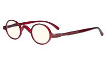 Blaulichtfiltergläser Blendfreie Leichtgewichts Computerbrillen - Kleine, runde UV-Strahlen Schutz -Lesebrillen für Damen Herren die mit Federscharnieren Rot UVR077X