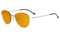 Blaulicht blockiert Computerbrillen mit orange getönten Filtergläser zum Schlafen in der Nacht - Randlose Pilot-Brillen Anti-UV-Strahlen Blendung Damen Silber DSWK9901B