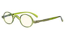 Blaulichtfiltergläser Blendfreie Leichtgewichts Computerbrillen - Kleine, runde UV-Strahlen Schutz -Lesebrillen für Damen Herren die mit Federscharnieren Grün UVR077X