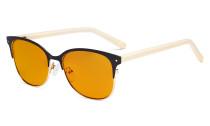 Damen-Blaulicht-Schutzbrille  mit orange getönter Filtergläser zum Schlafen - Cateye Damen Computerbrille  Blendschutz - Reduzieren Augen belastung durch blaue Strahlen Schwarz / Gold- LX19002-BB98