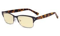 Damen-Blaulicht-Schutzbrille mit gelber Filtergläser - Computerbrillen Damen Blendschutz - Reduzieren Augen belastung durch blaue Strahlen. Schwarz / Metallisch Blaugrau- LX19003-BB60