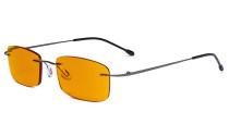 Computer-Brille - Blaulicht-Schutzbrille mit orange getönter Filtergläser für die Nacht - Randlose, blendschuz UV-Strahlen schutz Damen Herren ,Metallisch Blaugrau DSWK8