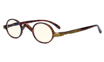 Blaulichtfiltergläser Blendfreie Leichtgewichts Computerbrillen - Kleine, runde UV-Strahlen Schutz -Lesebrillen für Damen Herren die mit Federscharnieren Schildpatt UVR077X