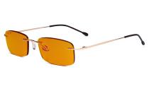 Computer-Brille - Blaulicht-Schutzbrille mit orange getönter Filtergläser für die Nacht - Randlose, blendschuz UV-Strahlen schutz Damen Herren ,Gold DSWK8