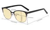 Damen-Blaulicht-Schutzbrille mit gelber Filtergläser - Computerbrillen Damen Blendschutz - Reduzieren Augen belastung durch blaue Strahlen. Schwarz / Gold- LX19003-BB60