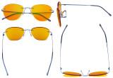 Blaulicht blockiert Computerbrillen mit orange getönten Filtergläser zum Schlafen in der Nacht - Randlose Pilot-Brillen Anti-UV-Strahlen Blendung Damen Blau DSWK9901B