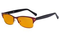 Damen-Blaulicht-Schutzbrille. mit orange getöntem Flitergläser für Schlafen - Damen Computer-Brillen Damen Blendschutz -  Reduzieren Augen belastung durch blaue Strahlen. Rot- LX19003-BB98