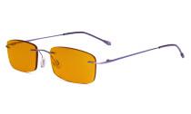 Computer-Brille - Blaulicht-Schutzbrille mit orange getönter Filtergläser für die Nacht - Randlose, blendschuz UV-Strahlen schutz Damen Herren ,Lila DSWK8